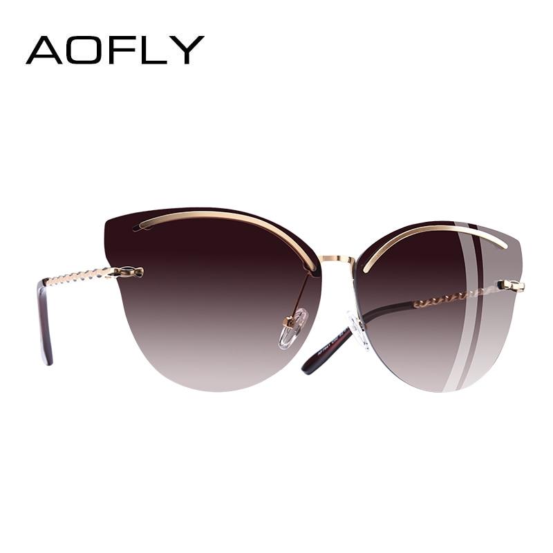 AOFLY BRAND DESIGN Cat Eye Sunglasses Women Fashion Mirror Reflective Sun Glasses Rimless Frame Alloy Legs Glasses UV400