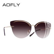 24b54947205a7 AOFLY BRAND DESIGN Cat Eye Sunglasses Women Fashion Mirror Reflective Sun  Glasses Rimless Frame Alloy Legs Glasses UV400