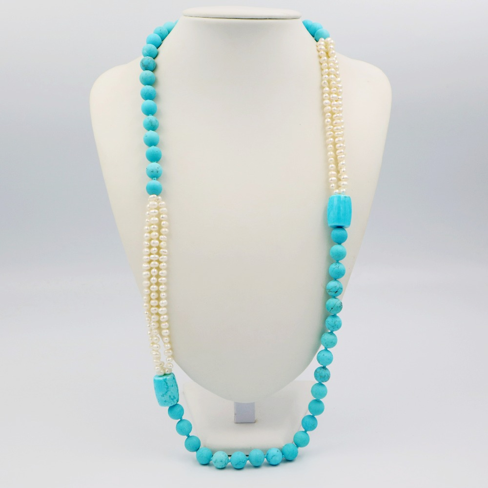 LiiJi Unique Fashion Necklace Turquoises 10mm &Freshwater Pearl Long Sweather Necklace 30/76cm