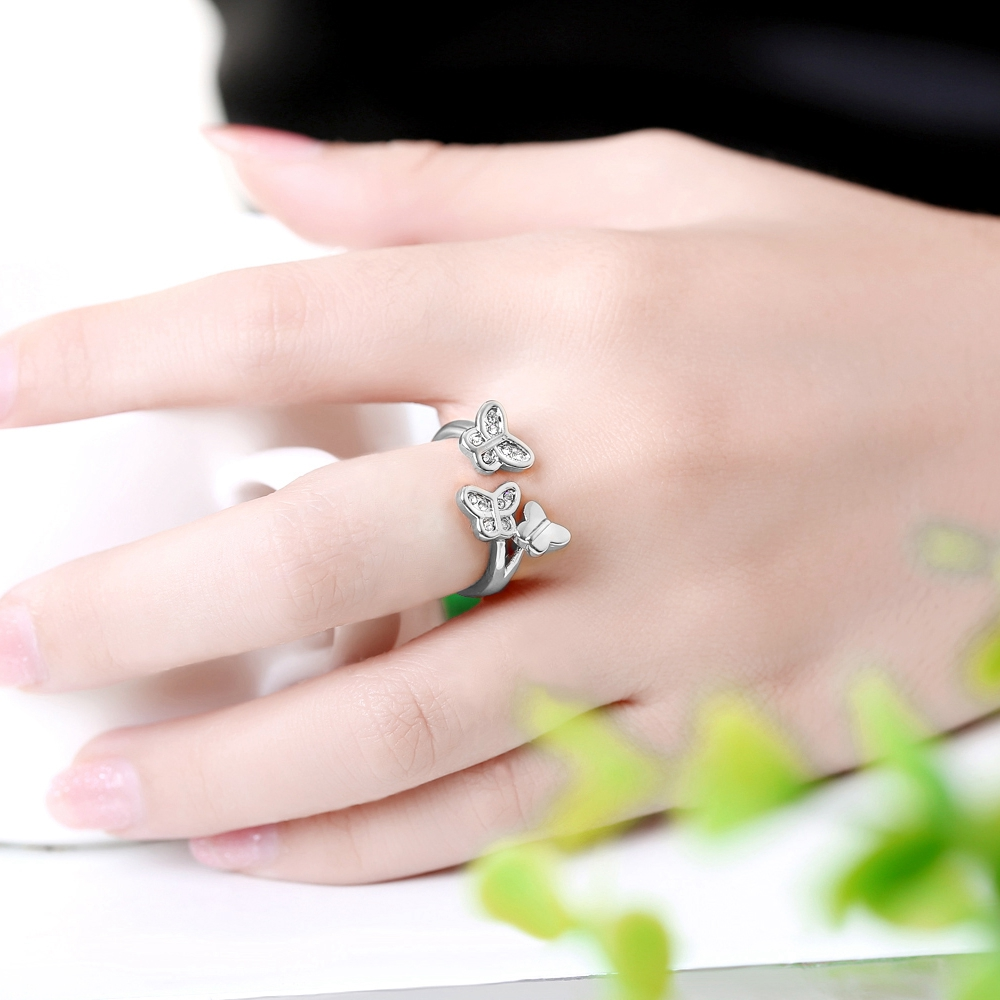 Elegant 3 butterflies Ring Fashion Women Not closed Rhinestone Ring ...