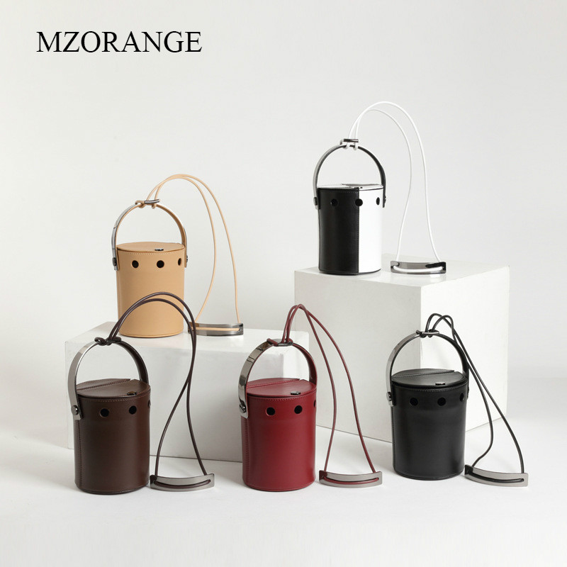 MZORANGE 2018 New Genuine Leather Women Mini Bucket Bags Vintage Flip Cover Female Simple Shoulder Lady Messenger Crossbody Bags 2017 women bucket bags lady cowhide genuine leather shoulder strap messenger bags female simple fashion casual chains mini bags