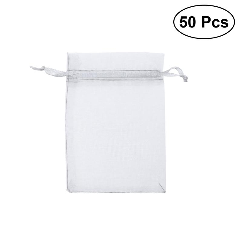 50 Pcs Drawstring Organza Gift Bags Jewellery and Candies for Wedding Baby Shower Favors Mesh Gift Bag (White)