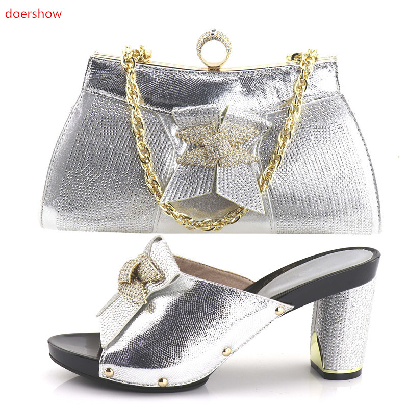 doershow Italian silver Matching Shoes and Bag Set African Women Italian Shoe and Bag Set Decorated with Rhinestone!HV1-44 doershow high quality italian shoe and bag to match women shoes african party shoes and bag set green with rhinestone kh1 3