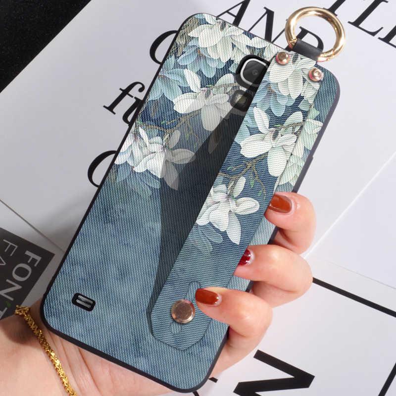 Fundas para teléfono con correa de muñeca para Samsung Grand 3/Prime funda elegante con flores para Samsung Galaxy Mega 2/ cubierta trasera 5,8/6,3