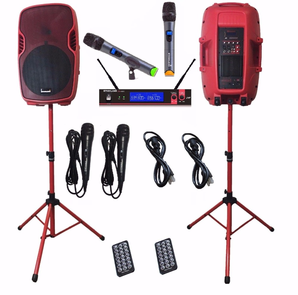 STARAUDIO Pair 15 3500W Powered Active PA DJ Stage USB SD FM BT Speakers W/ 2CH UHF Wireless Mic Stands Wired Mic SSRM-15