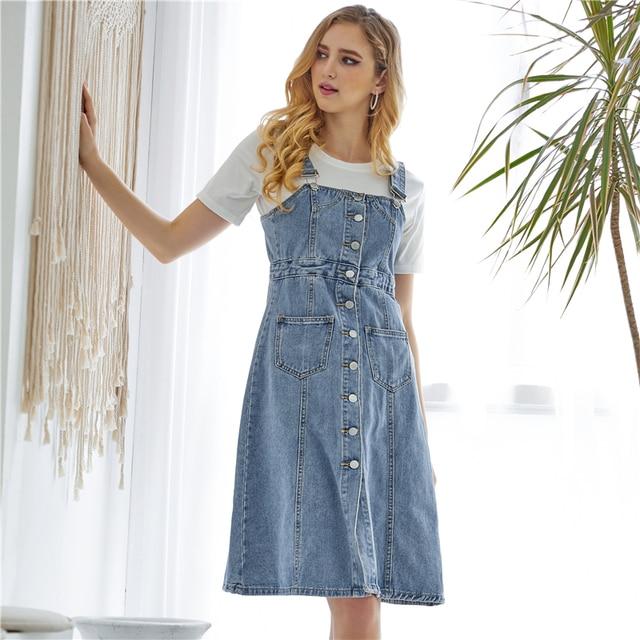 Colorfaith New 2019 Women Denim Dresses Spring Autumn Knee-Length Casual Ladies Strap Dress Overalls Pockets DR8851 4