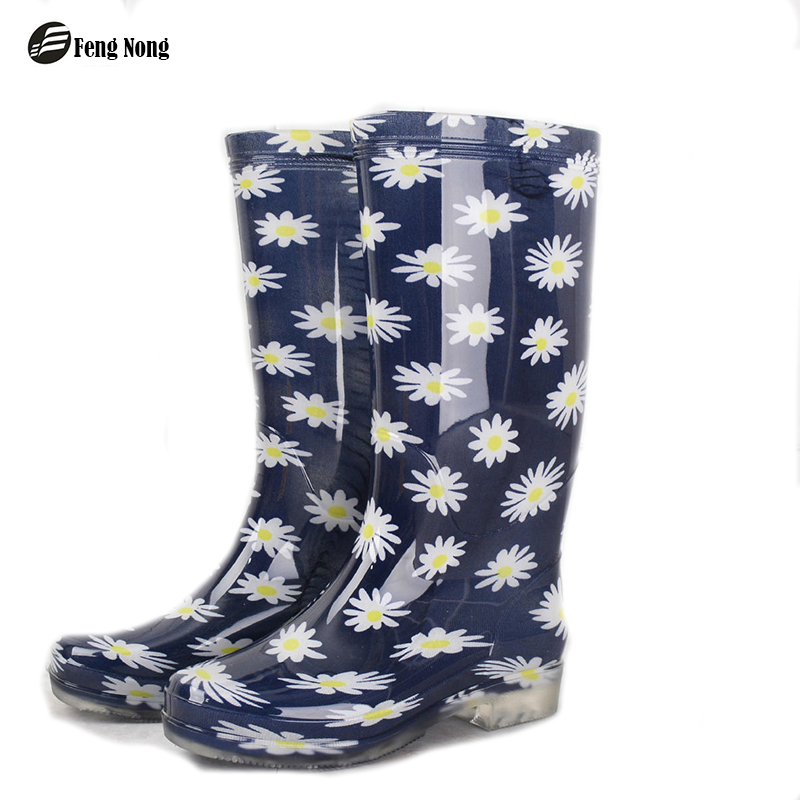 Fengnong flower knee high rain boots student school flower rain boots shoes woman solid rubber waterproof school botas w116