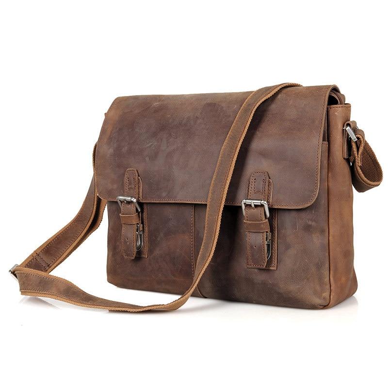 цена Nesitu High Quality Best Gift Vintage Crazy Horse Leather Cross Body Men Messenger Bags 14 inch Laptop Bag #M6002LR