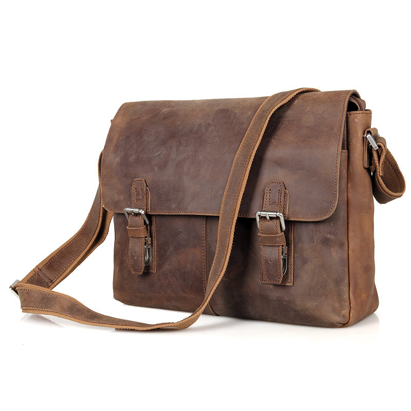 Nesitu High Quality Best Gift Vintage Crazy Horse Leather Cross Body Men Messenger Bags 14 inch Laptop Bag #M6002LR
