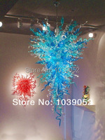 Free Shipping Antique Blown Glass Large LED Chandelier Blue
