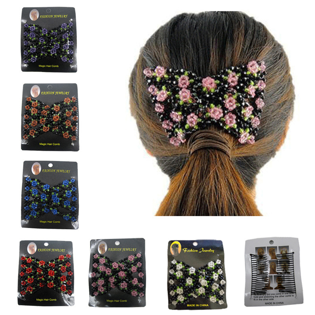 Magic Beads Double Comb Side Clips Women Metal Elasticity Hairepins Fashion Gift