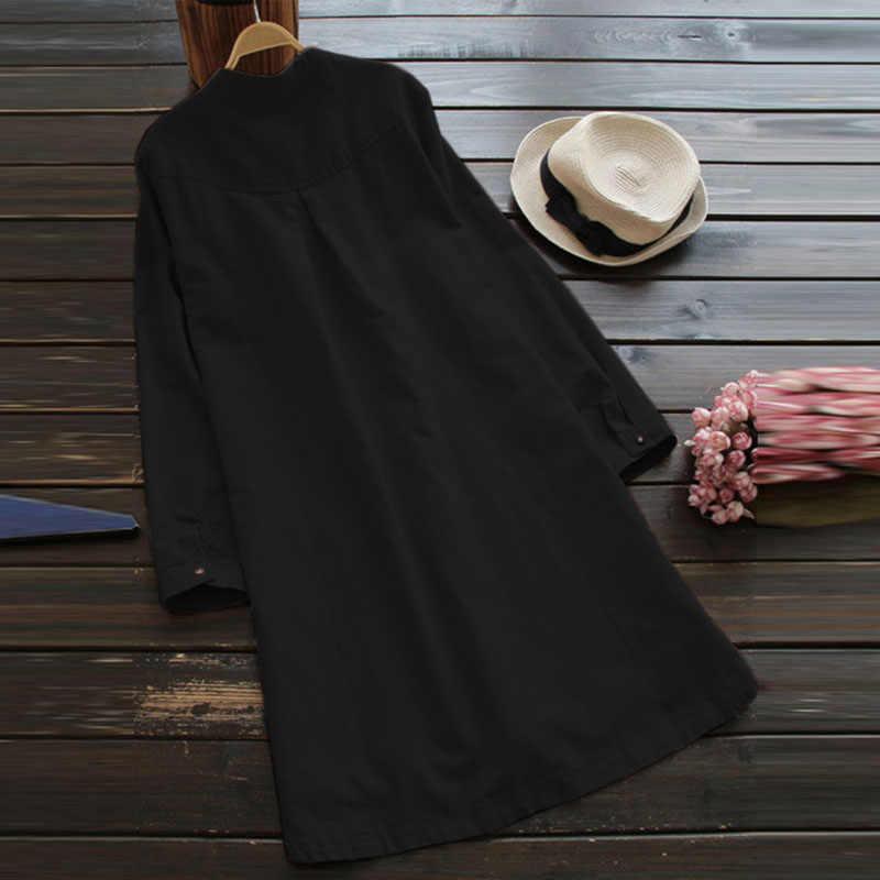 2019 SCHMICKER femmes décontracté col montant à manches longues lâche chemise robe haut printemps Vintage solide coton linge fête de base Vestido