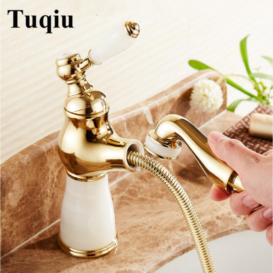 fashion jade and brass construction gold/rose gold finished bathroom basin faucet,sink tap mixer with pull out shower head rose gold brass bathroom pull out sink faucet with natural jade marble basin mixer torneira single hole handle water tap