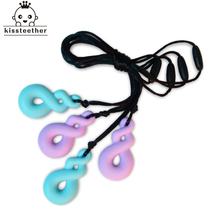 BPA Free Silicone Chew Necklace With Silicone Twist Beads Pendant Non Toxic Silicone Teething Necklace for Baby/mommy