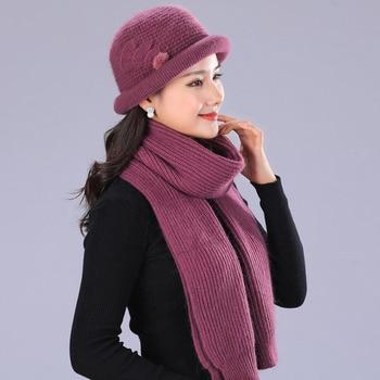 Conejo de lana de sombrero de la boina mujer elegante mujer gorros de  invierno cálido de punto de sombrero y bufanda de invierno de las señoras  de estilo de ... 27282aac5ff