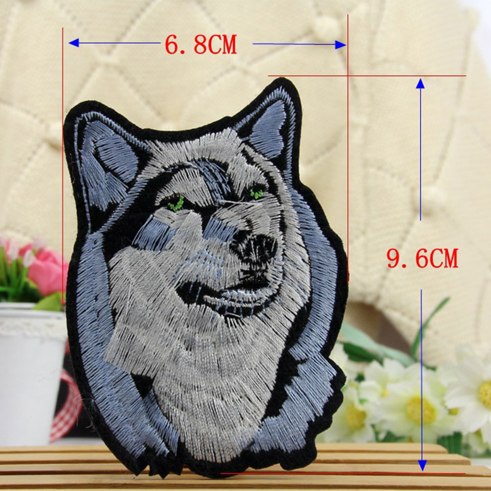 DIY Patches Large Wolf Patch Animal Wolf Head Patches for Clothes Iron on Sew-on Embroidered Patch Applique for Clothing Repair