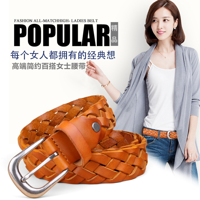 GEERSIDAN New Fashion decoration Genuine Leather belt for women Brand luxury high quality Weaving Retro pin buckle women 39 s belt in Women 39 s Belts from Apparel Accessories