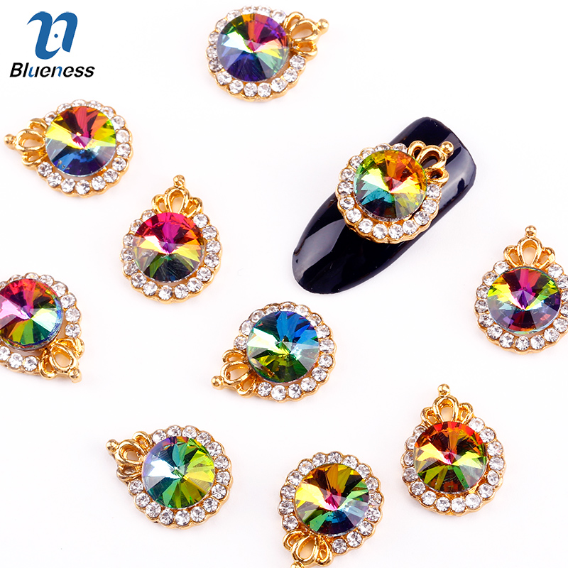 Blueness 10Pcs/Lot Colorful Crystal Nails Accessories Alloy Metal Crown Design Glitter Rhinestones 3D Nail Art Decoration TN1874 landscape photo frame of the living room of the paris tv tower living tv background wallpaper wallpaper wall canvas