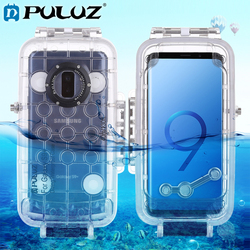 PULUZ 40m/130ft Underwater Diving Phone Protective Case for Galaxy S9/S9+ Surfing Swimming Snorkeling Photo Video Taking Cover
