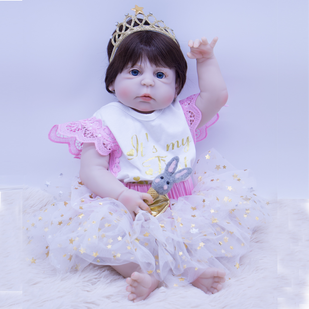 Npk Doll Reborn 55cm All Silicone Reborn Baby Dolls Vinyl Toys Big Eys Dolls For Girls 3 7 Years Old Baby Dolls With Pink Bottle