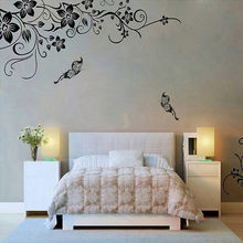Hee Grand Removable Vinyl Wall Sticker Mural Decal Art - Flowers and Vine Living Room Decoration Wall Decals #w2(China)