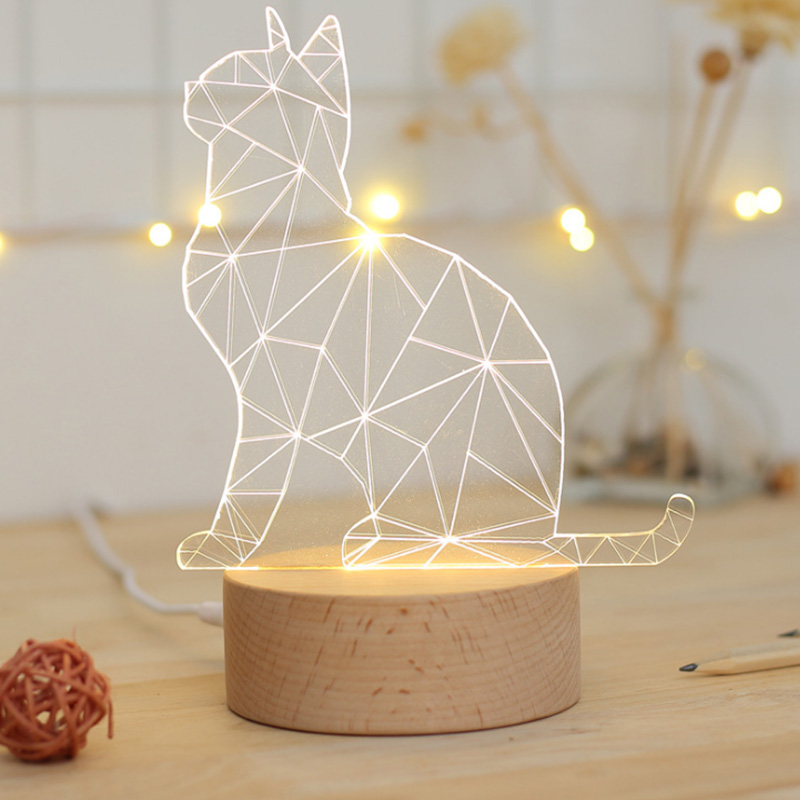 3D Cat table lamp USB charging 3D Visual Illusion Night Light LED animal 5V power supply cartoon Light creative gift