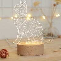 3D Cat table lamp USB charging 3D Visual Illusion Night Light LED animal 5V power supply cartoon Light creative gift