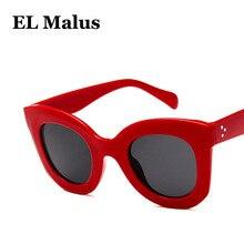 8dba18908ea  EL Malus Retro Cat Eye Frame Women Sunglasses UV400 Thick Red Black Mirror  Shades