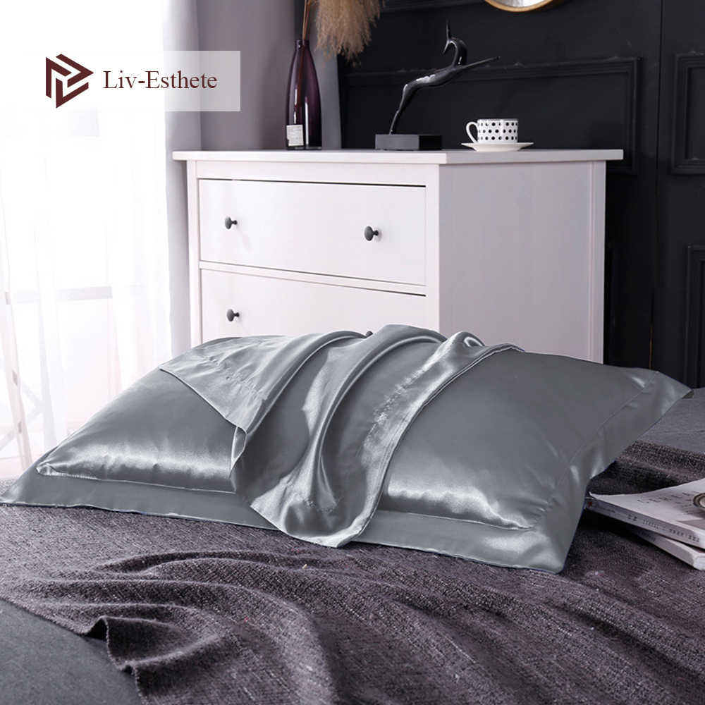 Liv-Esthete Luxury 100% Nature Mulberry Satin Silk Silver Grey Pillowcase Wholesale Multicolor Silky Pillow Case For Women Men