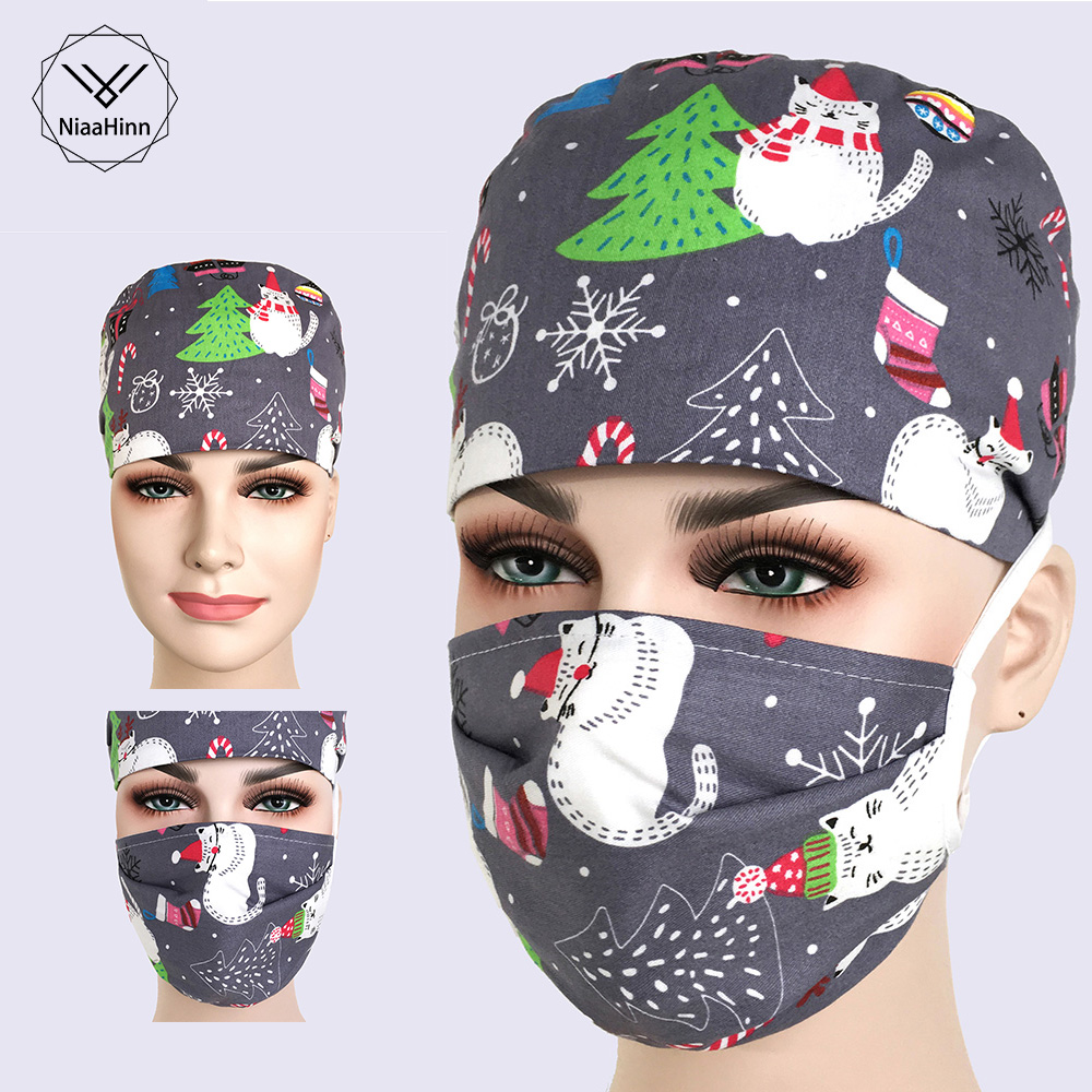 Scrub Caps Masks For Women And Men Hospital Clinical Medical Hats Print Adjustable Surgical Hat Mask Unisex Operating Room Hat