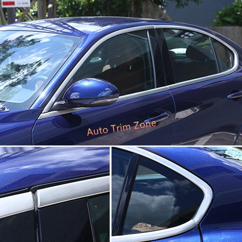8 PCS Stainless Steel Matt Exterior Door Window Mouldings For Alfa Romeo Giulia 2017-20188 PCS Stainless Steel Matt Exterior Door Window Mouldings For Alfa Romeo Giulia 2017-2018
