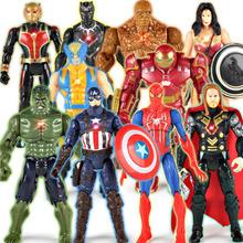 Figurka superbohatera avengers zabawki thor kapitan ameryka Wolverine Spider-Man Iron Man Hulk model z pcv zabawki zabawki dla dzieci na prezent tanie tanio CXBEMTOY Żołnierz gotowy produkt Wyroby gotowe Unisex 14cm Z tworzywa sztucznego Keep away from fire 15cm high 1 12 Zachodnia animiation