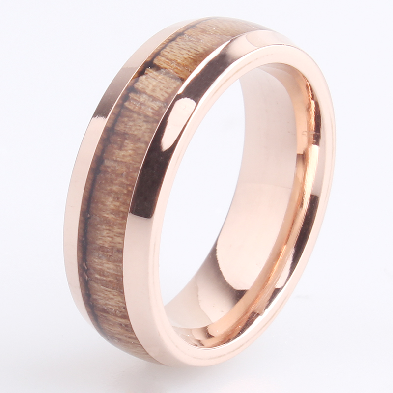 free shipping 6mm rose gold color wood 316L Stainless Steel font b wedding b font font