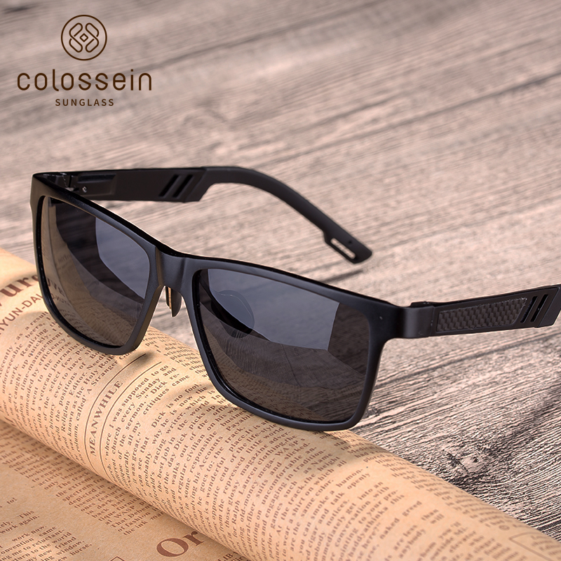 COLOSSEIN Sunglasses Men Polarized Black Square Sun Glasses Cool Driving Eyewear Retro Men's Glasses brand polarized lens men s sunglasses aluminum magnesium vintage eyewear accessories sun glasses for men driving outdoor glass