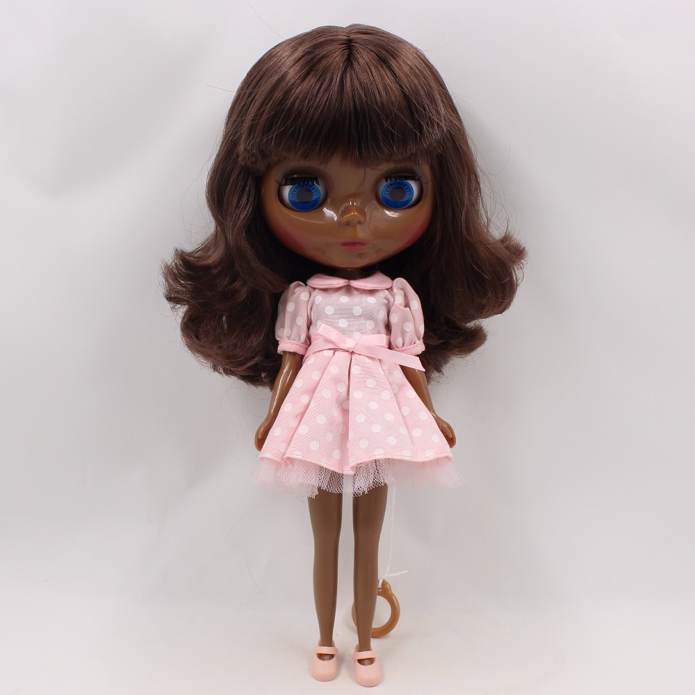 "12/"" Neo Blythe Nude Doll From Factory Dark Brown Short Hair With Bang"