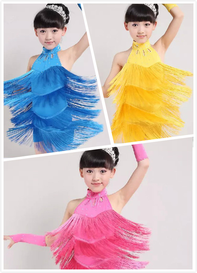 girls children's Latin dance costume dance wear Child Kids Blue Yellow Pink Stage Latin Fringe Dress Fringe Dance Costumes