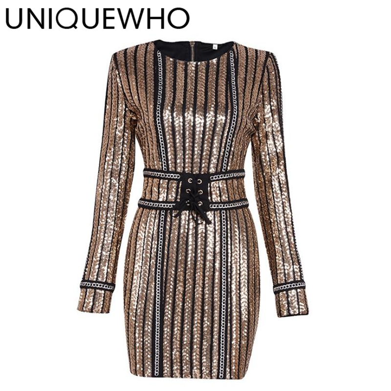 UNIQUEWHO Women Sexy Stripes Sequin Mini Dress Gold Elastic Long Sleeve Sequined Tight Pencil Dress Club Evening Party Dresses baishanglinna 2018 new spring and summer women dress black gray sleeveless knitted dresses sexy tight elastic dress party dress