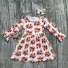Thanksgiving Fall Baby Girls Milk Silk Soft Cotton Dress Turkey Print Ruffle Long Children Clothes Boutique
