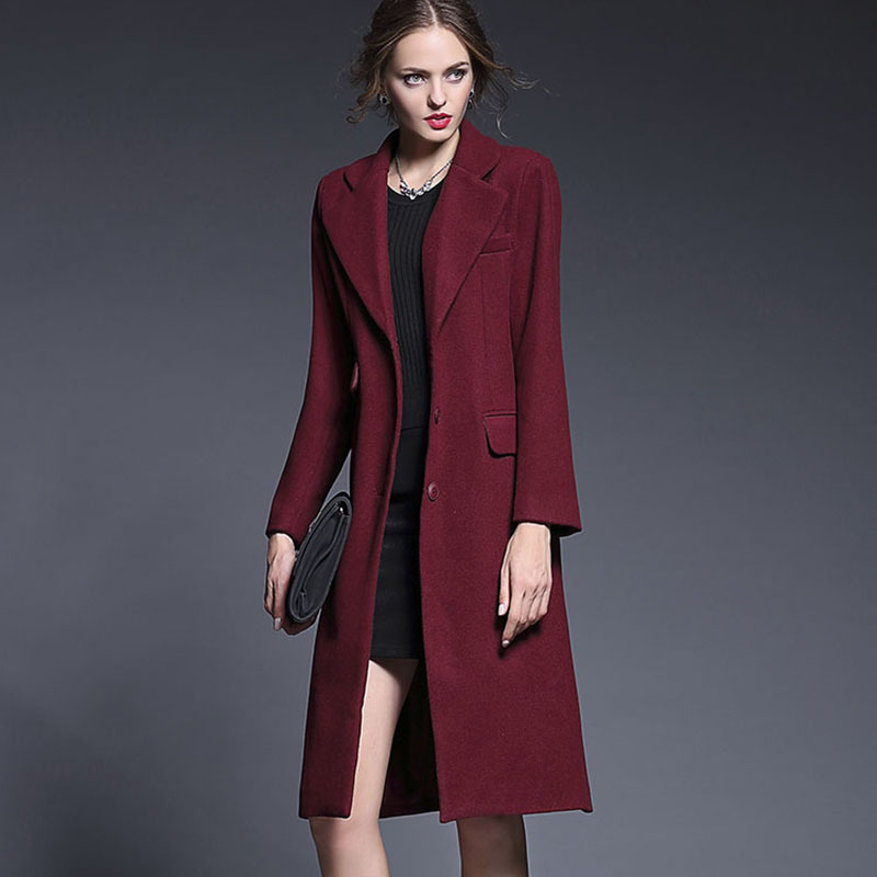 Dark Red Coat | Down Coat