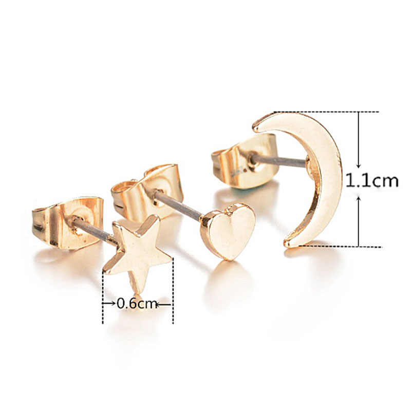 LNRRABC 3 ชิ้น/เซ็ตที่ละเอียดอ่อน Silver Black Gold Moon Star Ear Stud ต่างหูสำหรับผู้หญิงเครื่องประดับ Pendientes Mujer
