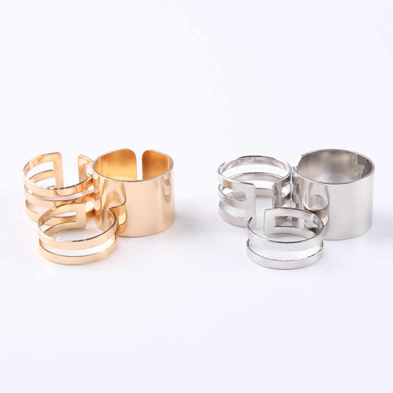 Sindlan Ring Fashion 3pcs / Set Gold And Silver Punk Jewelry Personality Bohemian Vintage Hollow Wide Knuckle Ring For Women