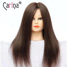 45cm 100% Real Human Hair Mannequin Head Hairdresser Manequin Female Hairdressing Doll Heads Training Head With Hair Doll Makeup
