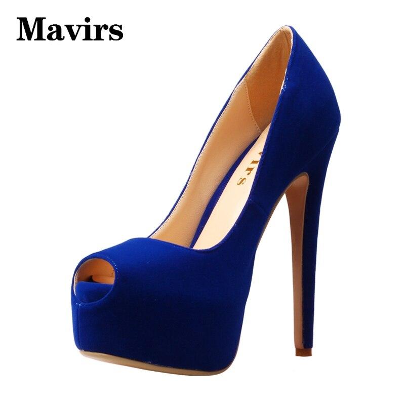 MAVIRS Flock Platform High Heels Blue Black Green Women Pumps 2018 Peep Toe Stiletto Causal Shoes Thin heels EU Size 34-46