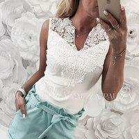Летние Для женщин топы без рукавов Кружева полые Тонкий Блузки рубашка Леди v-образным вырезом Футболка жилет футболка