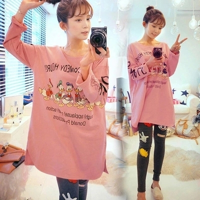 2017 Spring Autumn 100% Cotton Women Pajamas Sets of Sleepcoat & Trousers Lady Cartoon Sleepwear Female Home Clothing