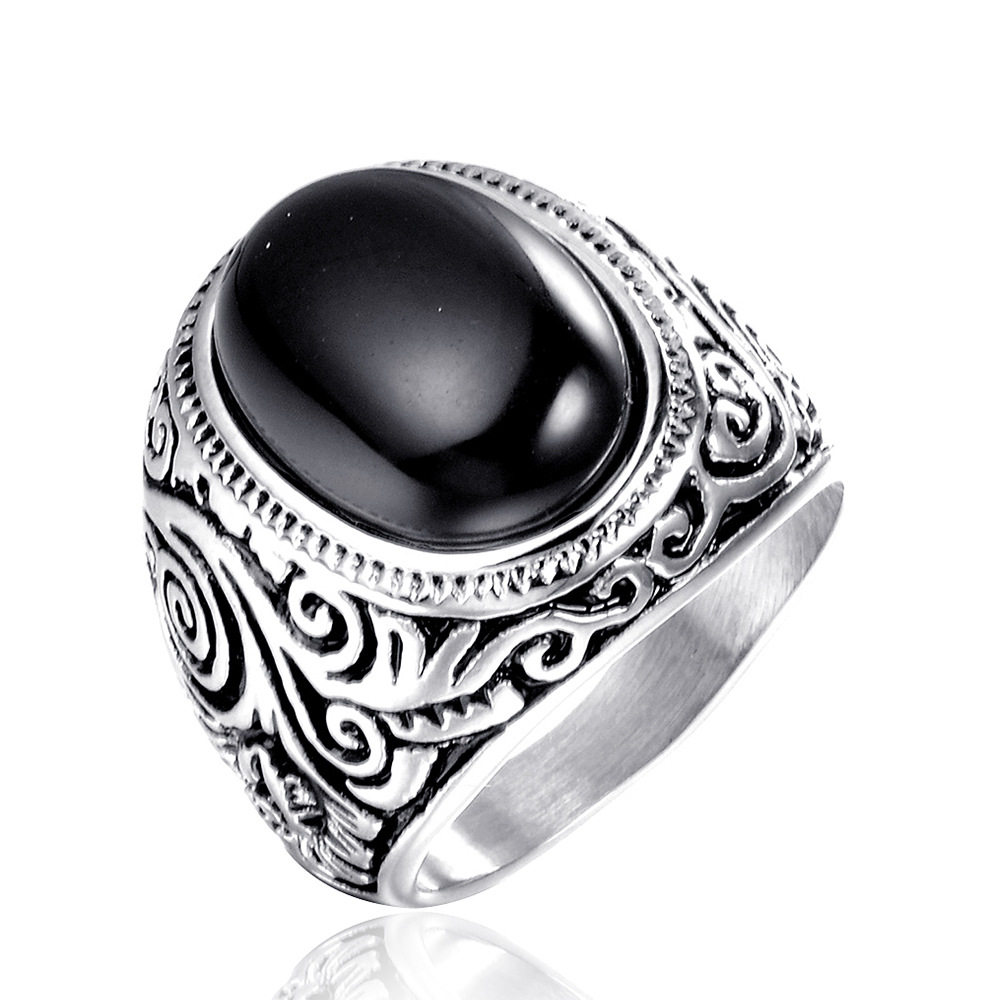Newest 2 Colors Blue Black Stone Ring Stainless Steel Women Mens Silver Fashion Indian Style Biker Ring in Wedding Bands from Jewelry Accessories
