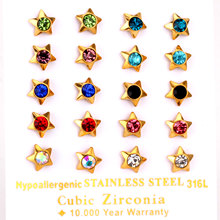 LUXUKISSKIDS Brand New 10pairs/lot Stainless Steel Stud Earrings Five-pointed Star Shape Crystal Mixed Color Earring(China)