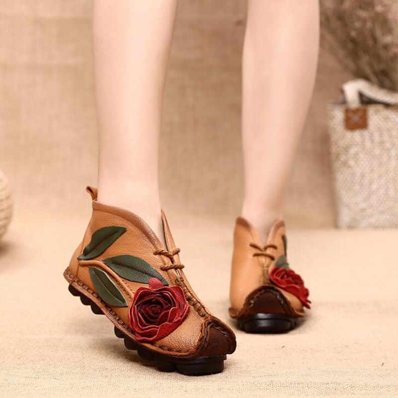 Kadın ayakkabı 2019 Yeni Retro rahat ayakkabılar bahar sonbahar ulusal tarzı işlemeli Hakiki Deri Kadın ayakkabı rahat yumuşak