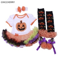 Pumpkin Baby Halloween Costume Lace Romper Dress Headband Crib Shoes Leg Warmers Newborn Infant Clothing Girls