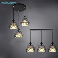 Birdcage Pendant Lamp Retro Iron Hanging Light Adjustable Living Room Restuarant Aisle Dining Room Cafe Chandelier